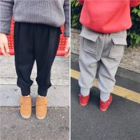 冬装新款童装女童加绒运动裤小童婴儿宝宝加厚哈伦裤保暖裤