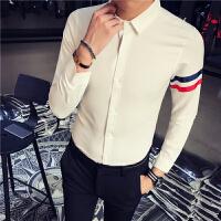 新款韩版修身男士长袖衬衫发型师夜店潮流青年拼接衬衣免烫上衣潮