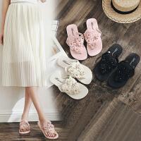 人字拖女夏季时尚防滑 夹脚沙滩平底跟外穿女士凉拖鞋外出