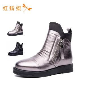 红蜻蜓女鞋新款平底中跟内增高休闲鞋高帮鞋