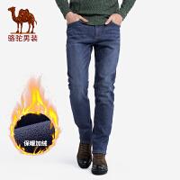 骆驼男装 秋冬新款韩版加绒加厚牛仔裤男士直筒休闲保暖裤子
