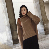 针织衫 女士宽松高领针织衫2020冬季韩版女式懒惰风纯色打底衫学生时尚套头衫毛衣