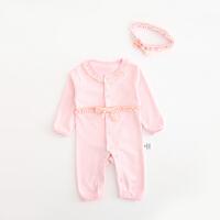 婴儿连体衣服棉宝宝新生儿哈衣长袖春装冬季睡衣03个月新年