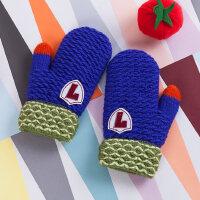 韩版宝宝手套婴幼儿连指款毛线男女大小孩手套保暖加绒