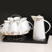 陶瓷骨瓷水具套装杯壶热水冷水杯子套装家用耐热茶具套装结婚礼品 7件套(送黑色方型树脂托盘+杯架)