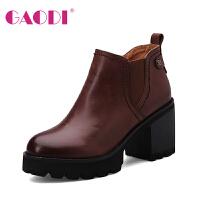 高蒂秋冬新款高跟靴子女粗跟圆头短筒四寸靴防水台牛皮靴子