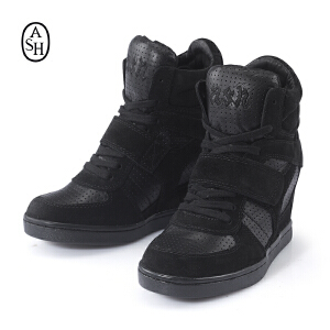 ASH艾熙 COOL高帮真皮休闲坡跟透气内增高黑色女鞋84940