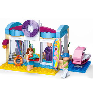 【当当自营】小鲁班新粉色梦想女孩海豚湾系列儿童益智拼装积木玩具 海上用品商店M38-B0603