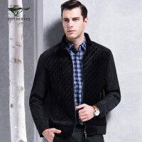 七匹狼夹克 新款 男士时尚商务休闲立领缩摆式单茄克外套 男装 7029638