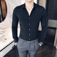 男士白色衬衫男修身型长袖商务衬衣韩版休闲发型师寸衣潮