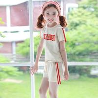 女童短裤套装夏装2018新款韩版儿童休闲运动短袖t恤两件套中大童