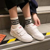 小白鞋女春季时尚新款韩版松糕厚底休闲运动鞋港味魔术贴板鞋子潮