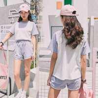 户外纯棉运动服套装女时尚洋气减龄短裤休闲套装两件套女