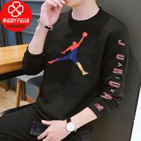 NIKE耐克长袖T恤男秋新款AJ炫彩运动服圆领套头衫CN3503-010