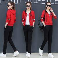 大码卫衣三件套修身长袖运动服韩版时尚休闲运动套装女