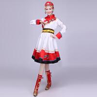 藏族舞蹈演出服装 少数民族广场舞服装蒙古族表演服女裙 红色