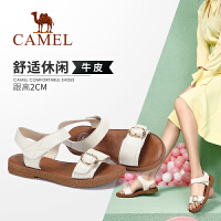 camel骆驼女鞋2019夏季新款真皮凉鞋女平跟休闲鞋学生百搭平底沙滩鞋女
