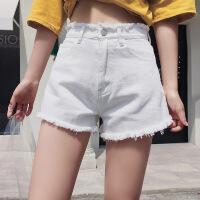 时尚个性牛仔短裤女夏季2018新款韩版学生裤毛边bf宽松透气舒适高腰短裤