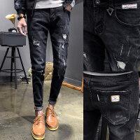 2018春季新款牛仔裤男士修身弹力小脚裤破洞黑色长裤子男韩版潮流