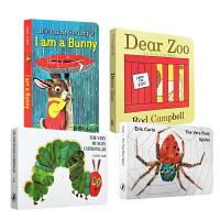 英文原版绘本 Dear Zoo 好饿的毛毛虫I am a bunnyThe Very Busy Spider 4本纸板书套装 0-3-6岁儿童启蒙趣味幼儿读物绘本The Very Hungry 送音频