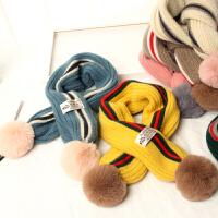 条纹毛球男女童围脖儿童围巾韩版冬季针织交叉保暖脖套