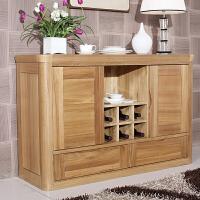 中式榆木家具简约原木柜子餐厅厨房碗柜茶水柜餐边柜全实木