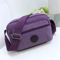 男士斜挎包单肩包卖货收钱包生意包男斜跨中老年多层帆布休闲背包 紫色 紫色