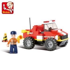 【当当自营】小鲁班急速火警系列儿童益智拼装积木玩具 迷你抢救车M38-B0217