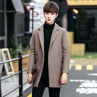 冬季男士风衣韩版帅气修身加绒毛呢外套男短款加厚大衣潮