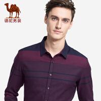 骆驼男装 秋季新款男士青年舒适长袖尖领修身条纹商务衬衫男