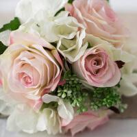 奇居良品 客厅卧室仿真花艺绢花假花装饰插花 玫瑰绣球扎束