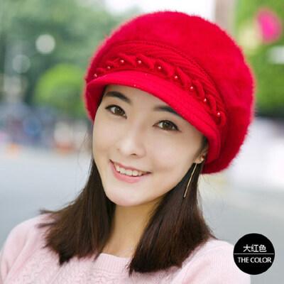 帽子女韩版潮兔毛帽鸭舌贝雷帽秋户外时尚加厚保暖针织毛线帽
