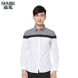 森马衬衫 春装新款 男士撞色拼接长袖衬衫
