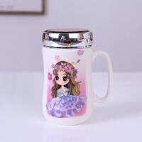 陶瓷杯子喝水杯办公杯带盖马克杯大容量牛奶杯卡通情侣创意镜面杯