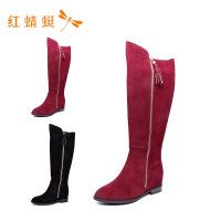 【专柜正品】红蜻蜓绒面圆头侧拉链低跟时尚女靴子