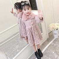 儿童秋冬韩版裙子洋气公主裙冬装女童加绒新年连衣裙