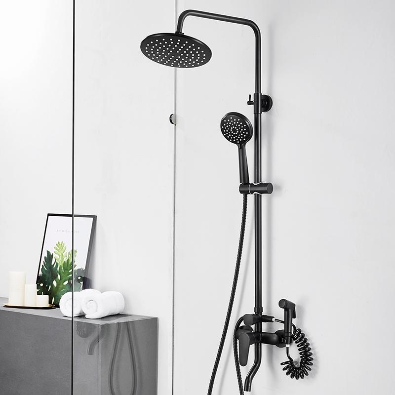 北欧黑色淋浴花洒套装家用全铜浴室沐浴淋浴器淋雨大喷头套装 北欧风  全铜  增压