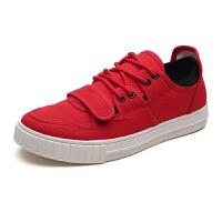 新百伦支撑夏季新款帆布鞋男士百搭韩版潮流休闲板鞋学生布鞋红色