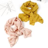 儿童围巾男童女童围脖樱桃图案户外宝宝柔软棉麻围巾