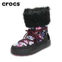 【下单立减120】Crocs女雪地靴 卡骆驰冬季花纹系带洛基靴加厚女棉靴子|204791 女士花纹系带洛基靴