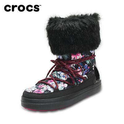 【下单立减120】Crocs女雪地靴 卡骆驰冬季花纹系带洛基靴加厚女棉靴子|204791 女士花纹系带洛基靴 crocs秋季上新大促