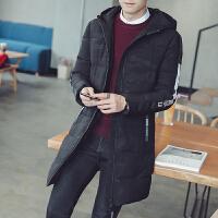 冬季韩版修身加厚学生连帽迷彩棉袄男士中长款棉衣