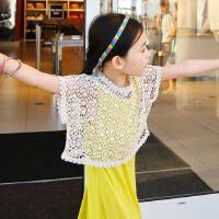 2015夏新款�n��女童短款小坎肩外套母女�b�U空套�^��衫蕾�z罩衫