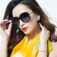 欧美女士时尚墨镜渐变优雅大框黑色太阳镜女 新款潮圆脸户外遮阳眼镜