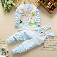 婴儿内衣春夏套装新生儿1-3岁5个月女童背带裤宝宝衣服两件套W 外套+背带裤-蓝色套装 蓝