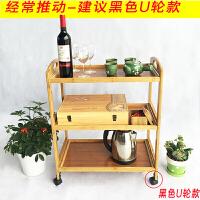 楠竹火锅菜架子移动餐车推车实木家用厨房置物架茶水美容院手推车