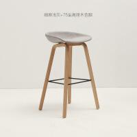 吧台椅实木丹麦北欧风吧椅家用咖啡厅轻奢时尚酒吧椅简约高脚凳