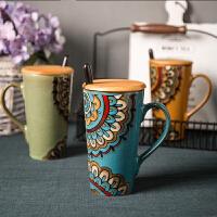 创意手绘大号容量个性咖啡马克杯陶瓷杯子套装情侣水杯早餐牛奶杯