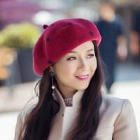 贝雷帽女羊毛呢文艺复古画家日系韩版百搭潮圆点蓓蕾八角帽子