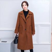 纤纯伊毛呢大衣女复古中长款呢子韩国2017新款秋冬双面呢焦糖色矮个外套